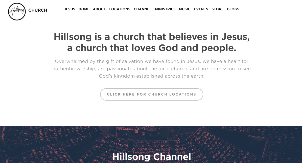 Simple & Direct Language, Hillsong Homepage