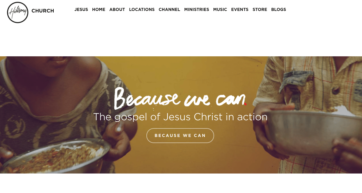Hillsong Website: Clear Messaging & Photography Use
